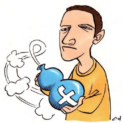 """扎克伯格的脸书""""魔葫""""。 漫画/崔泓"""